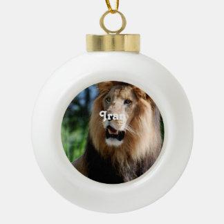 Asiatic Lion of Iran Ceramic Ball Christmas Ornament