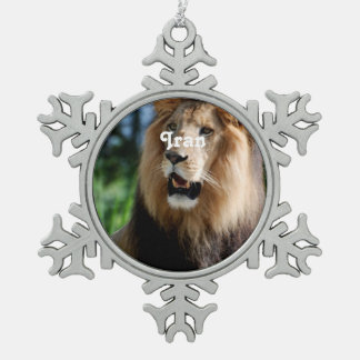 Asiatic Lion of Iran Snowflake Pewter Christmas Ornament