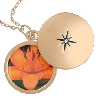 Asiatic Orange Lily Gold Plated Necklace