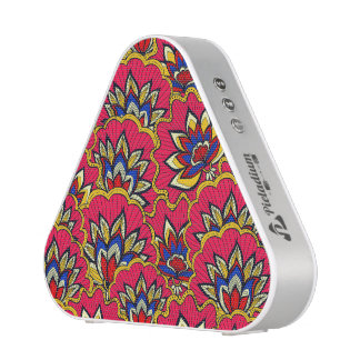 Asiatic red vibrant floral pattern bluetooth speaker