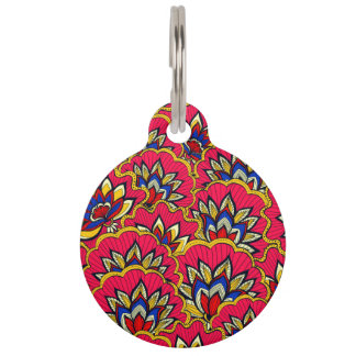 Asiatic red vibrant floral pattern pet name tag