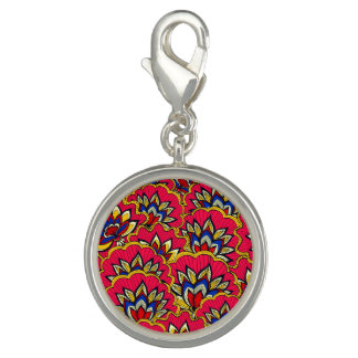 Asiatic red vibrant floral pattern photo charms