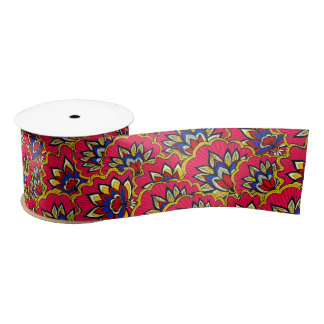Asiatic red vibrant floral pattern satin ribbon