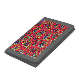 Asiatic red vibrant floral pattern trifold wallets