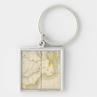 Asiatic Russia, Asia 19 Silver-Colored Square Keychain