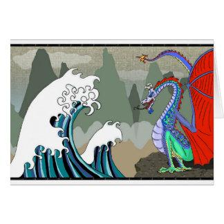 Asiático-Agua-Dragón Tarjeta De Felicitación