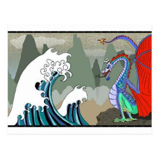 Asiático-Agua-Dragón Tarjeta Postal