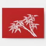Asiático de bambú blanco rojo retro del vintage de