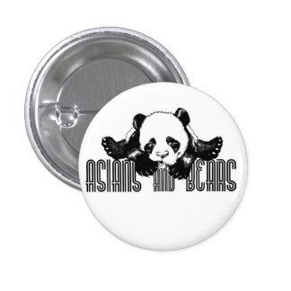 Asiáticos y botón del funcionario de los osos pin redondo de 1 pulgada