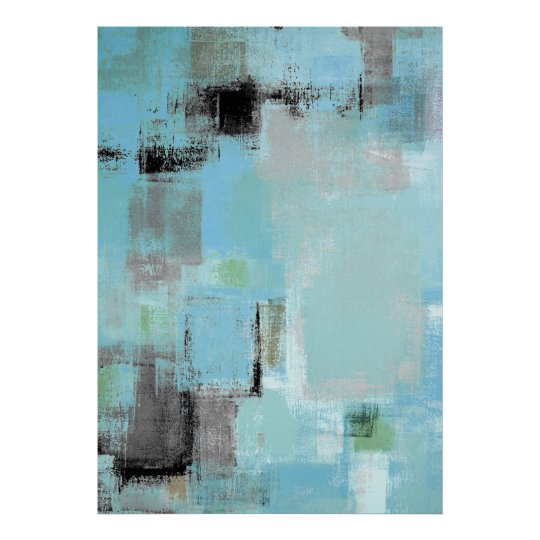 Aside Blue And Grey Abstract Art Poster Print Zazzle Com