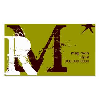 Asiduo verde de las iniciales plantilla de tarjeta personal