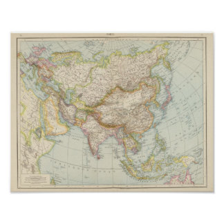 Asien - Map of Asia Poster