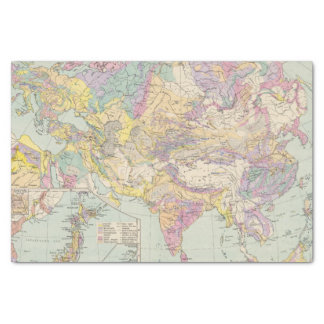 """Asien u Europa - Atlas Map of Asia and Europe 10"""" X 15"""" Tissue Paper"""