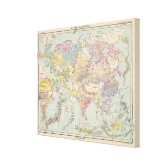 Asien u Europa - Atlas Map of Asia and Europe Canvas Print