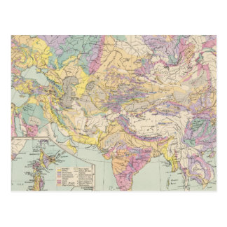 Asien u Europa - Atlas Map of Asia and Europe Postcard