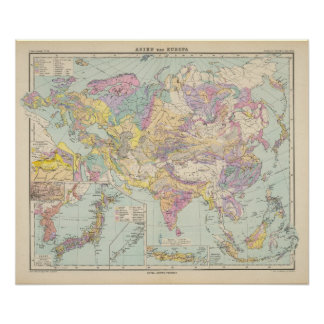 Asien u Europa - Atlas Map of Asia and Europe Poster