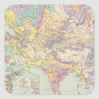 Asien u Europa - Atlas Map of Asia and Europe Square Sticker