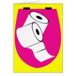 Asiento de inodoro y dos Rolls de papel higiénico Tarjeta