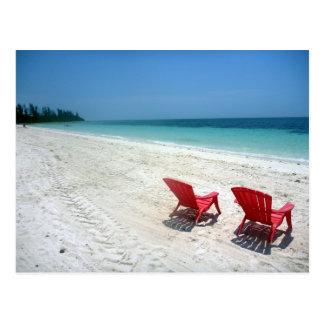 asientos de la playa tarjeta postal