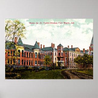 Asilo 1910 de fuerte Wayne, Indiana Posters