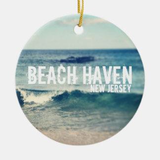 Asilo 2013 de la playa - recuperación en la orilla adorno redondo de cerámica