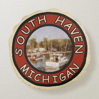 Asilo del sur colorido inspirado retro Michigan de Cojín Redondo