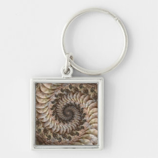Asilo espiral llavero cuadrado plateado