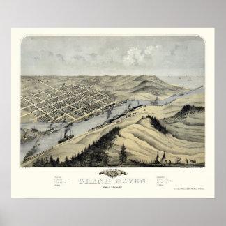 Asilo magnífico, mapa panorámico del MI - 1868 Impresiones