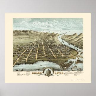Asilo magnífico, mapa panorámico del MI - 1874 Poster