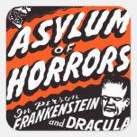 Asilo retro de los monstruos del vintage de Hallow Pegatinas Cuadradases