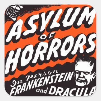 Asilo retro de los monstruos del vintage de pegatina cuadrada