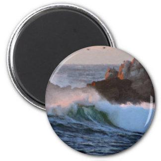 Asilomar Beach Wave Big Sur California Painted 2 Inch Round Magnet
