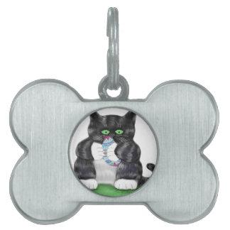 Asimientos gris oscuro del gatito del tigre placa de mascota