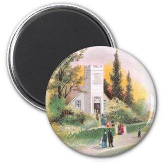Asistencia de la iglesia en vintage del navidad imán redondo 5 cm