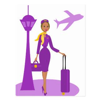 Asistente de vuelo fabuloso tarjeta postal