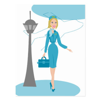 Asistente de vuelo fabuloso tarjetas postales
