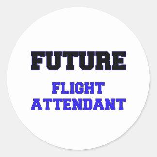 Asistente de vuelo futuro pegatina redonda