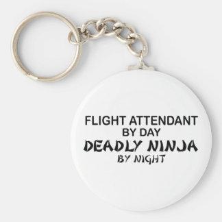 Asistente de vuelo Ninja mortal Llavero Redondo Tipo Pin
