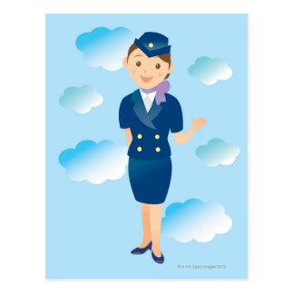 Asistente de vuelo tarjetas postales