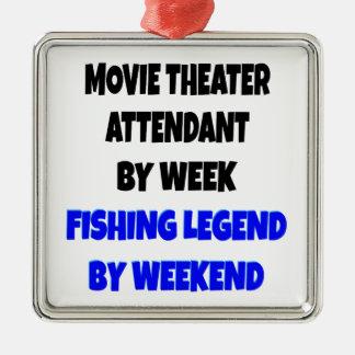 Asistente del cine de la leyenda de la pesca adorno cuadrado plateado