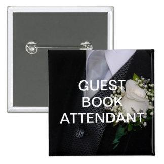 Asistente del libro de visitas pin cuadrada 5 cm