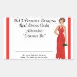 Asistente rojo de la gala del vestido 2013 rectangular pegatinas