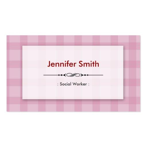 Asistente social - cuadrados rosados bonitos tarjetas de negocios