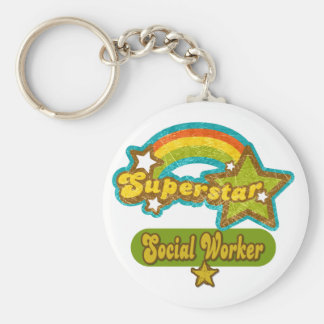 Asistente social de la superestrella llavero personalizado
