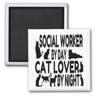 Asistente social del amante del gato imán cuadrado