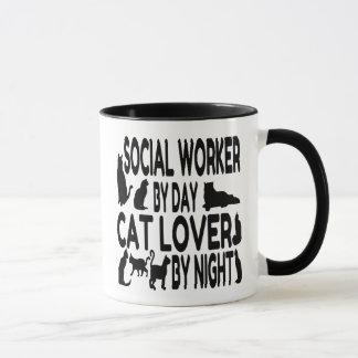 Asistente social del amante del gato taza