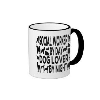 Asistente social del amante del perro tazas de café