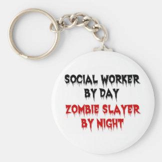 Asistente social del asesino del zombi del día por llavero redondo tipo pin