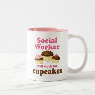 Asistente social divertido taza de café de dos colores