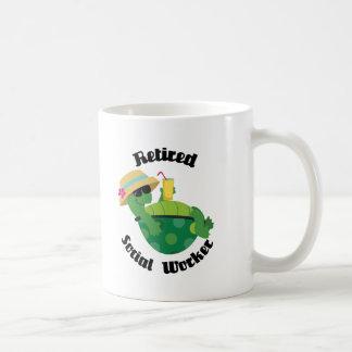 Asistente social jubilado (tortuga) tazas de café